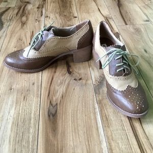 Not Rated Oxford Shoes With Stacked Heels, Sz 8